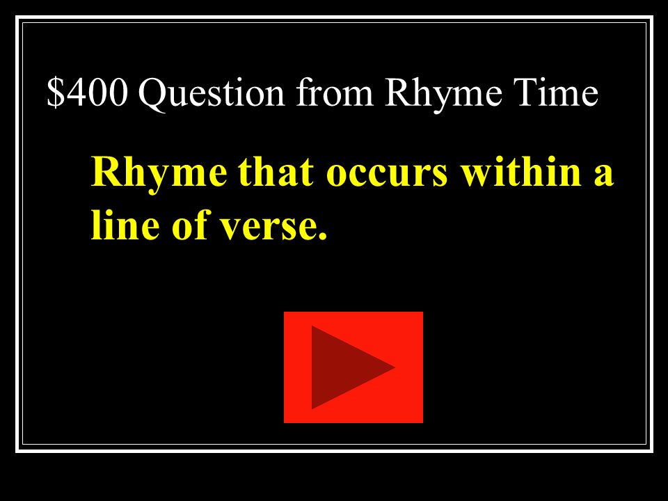 $400 Question from Rhyme Time