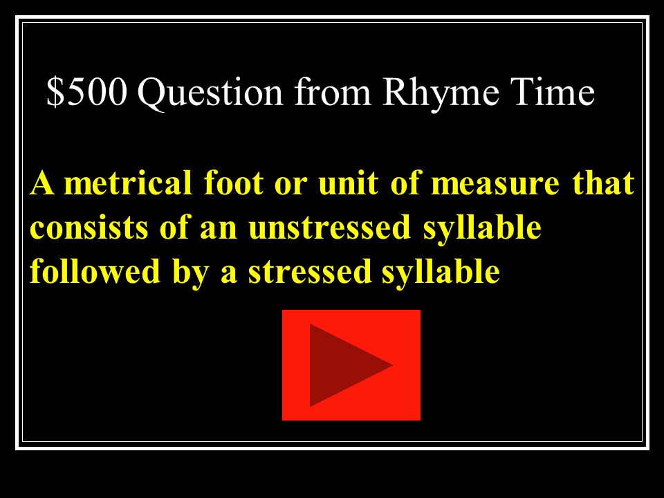 $500 Question from Rhyme Time