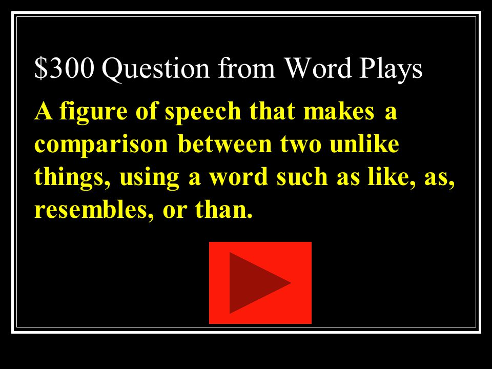 $300 Question from Word Plays