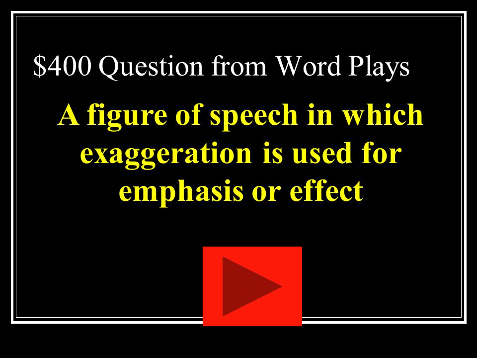 $400 Question from Word Plays