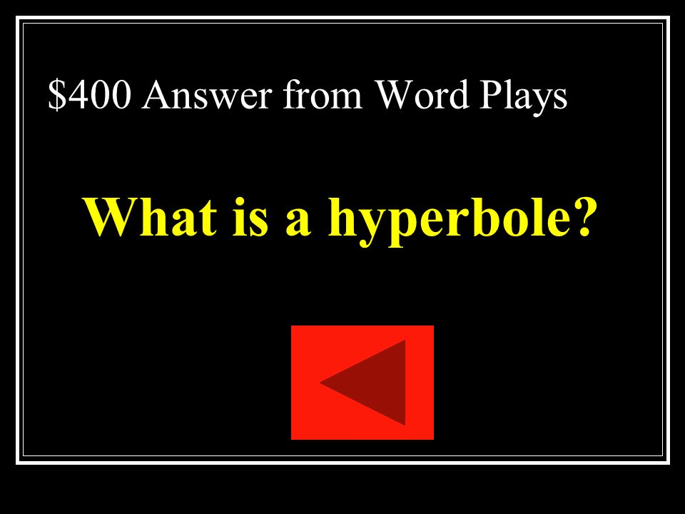 $400 Answer from Word Plays