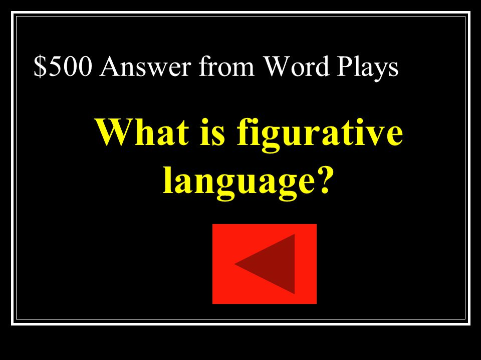 $500 Answer from Word Plays