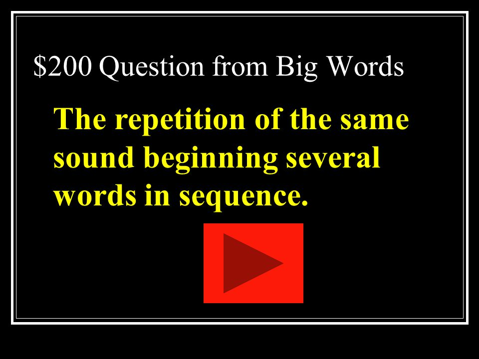 $200 Question from Big Words
