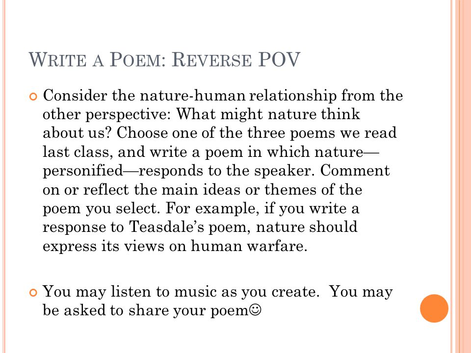 how to write a reverse poem Enough poem starters and creative writing prompts to keep you permanently inspired you'll never run out of poetry ideas increase your creativity and become a better poet.