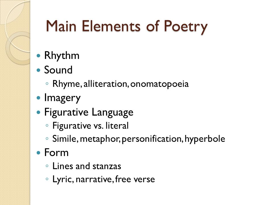Main Elements of Poetry
