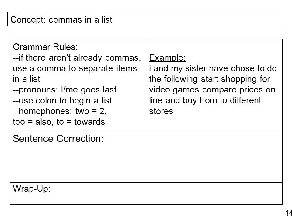 Sentence Correction: Concept: commas in a list Grammar Rules: