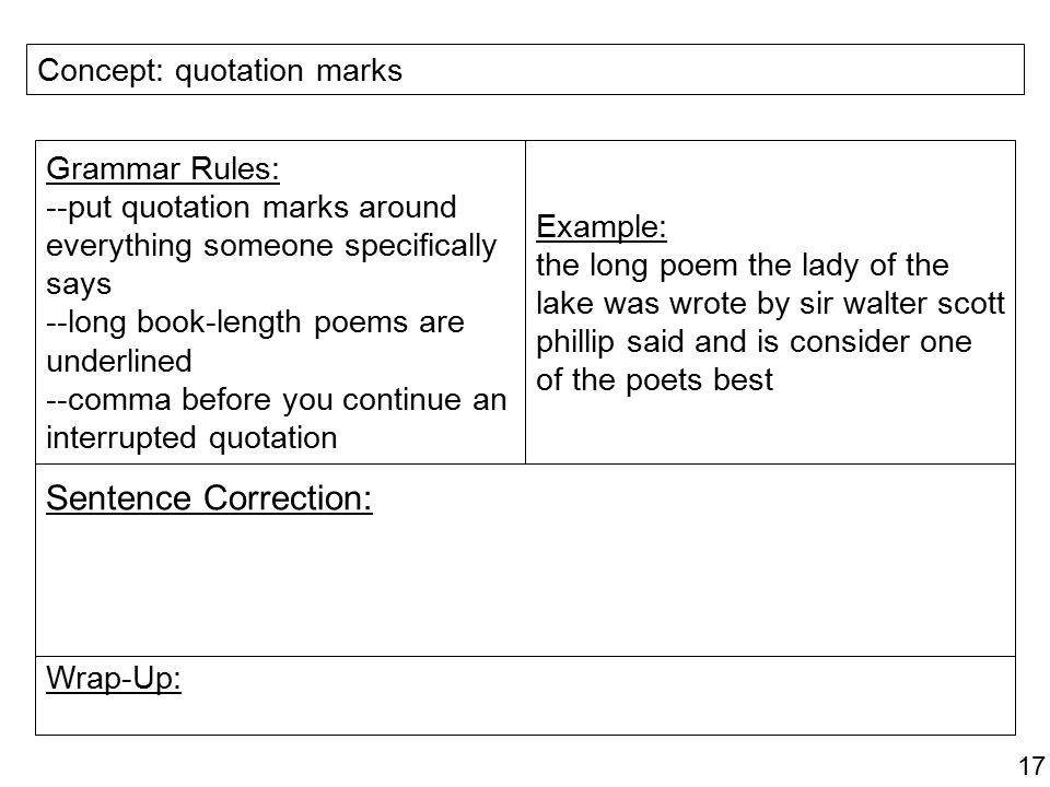 Do You Put Commas Before Quotes: Sentence Correction: Concept: Book Titles Grammar Rules