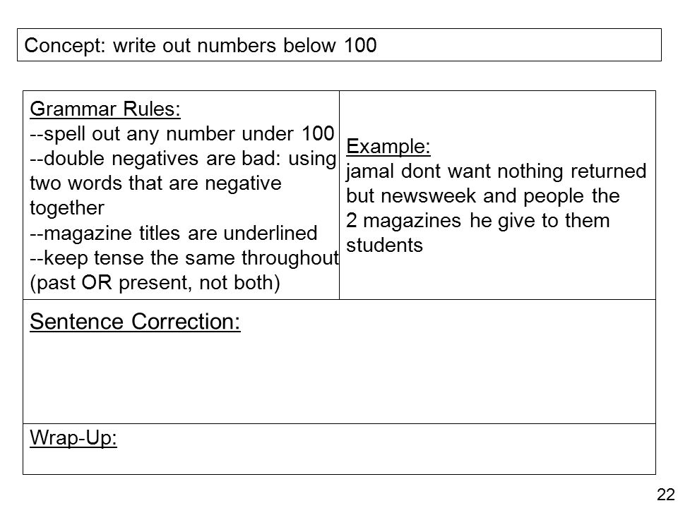 Sentence Correction: Concept: write out numbers below 100