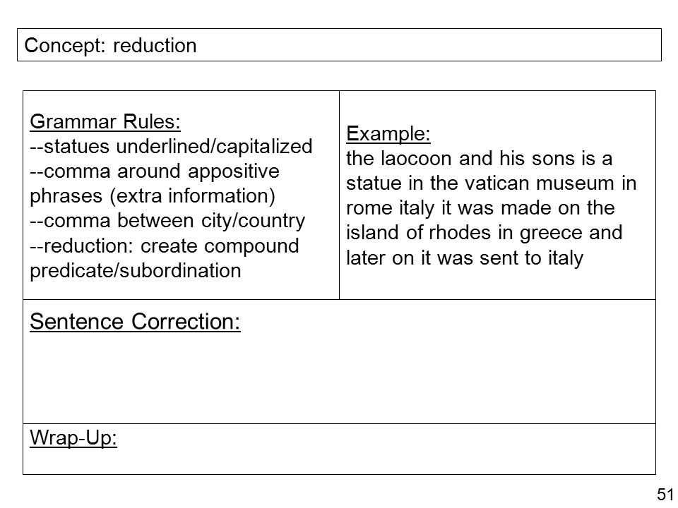 Sentence Correction: Concept: reduction Grammar Rules: Example: