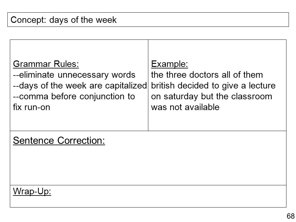 Sentence Correction: Concept: days of the week Grammar Rules: