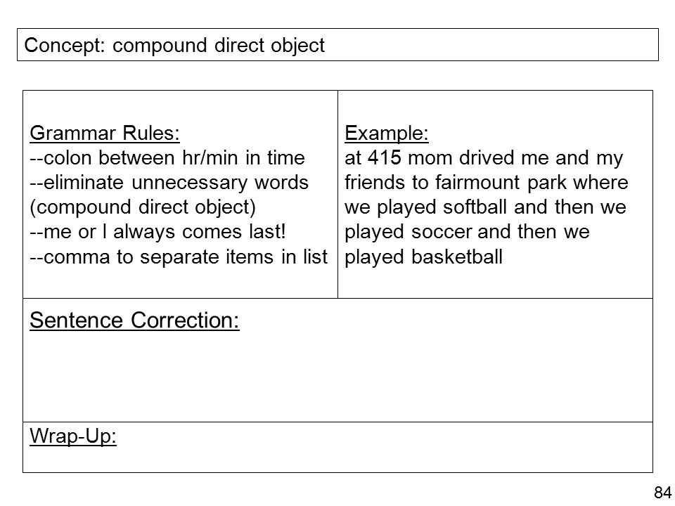 Sentence Correction: Concept: compound direct object Grammar Rules: