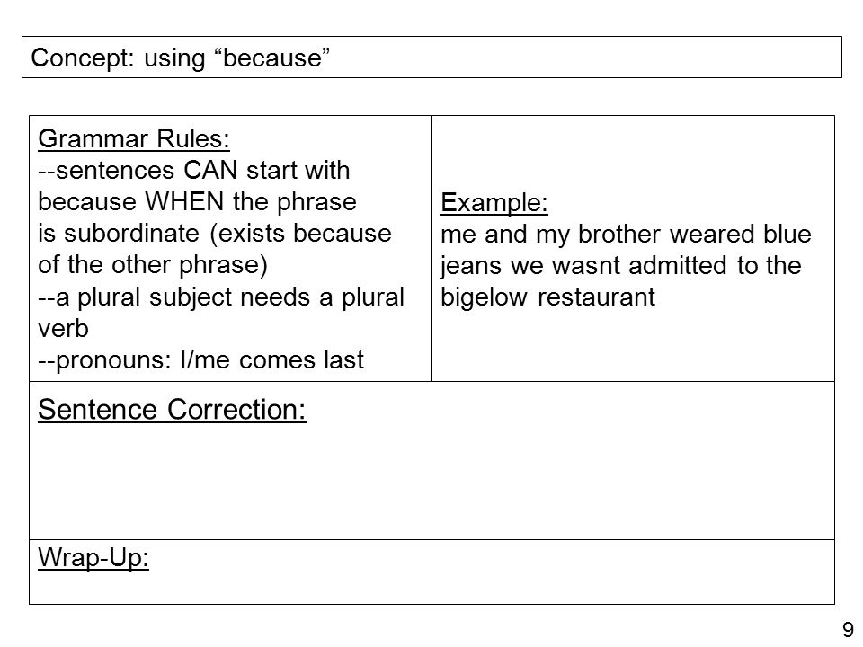 Sentence Correction: Concept: using because Grammar Rules: