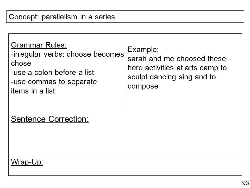 Sentence Correction: Concept: parallelism in a series Grammar Rules: