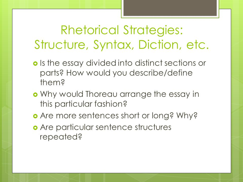 ap lang rd ppt video online rhetorical strategies structure syntax diction etc