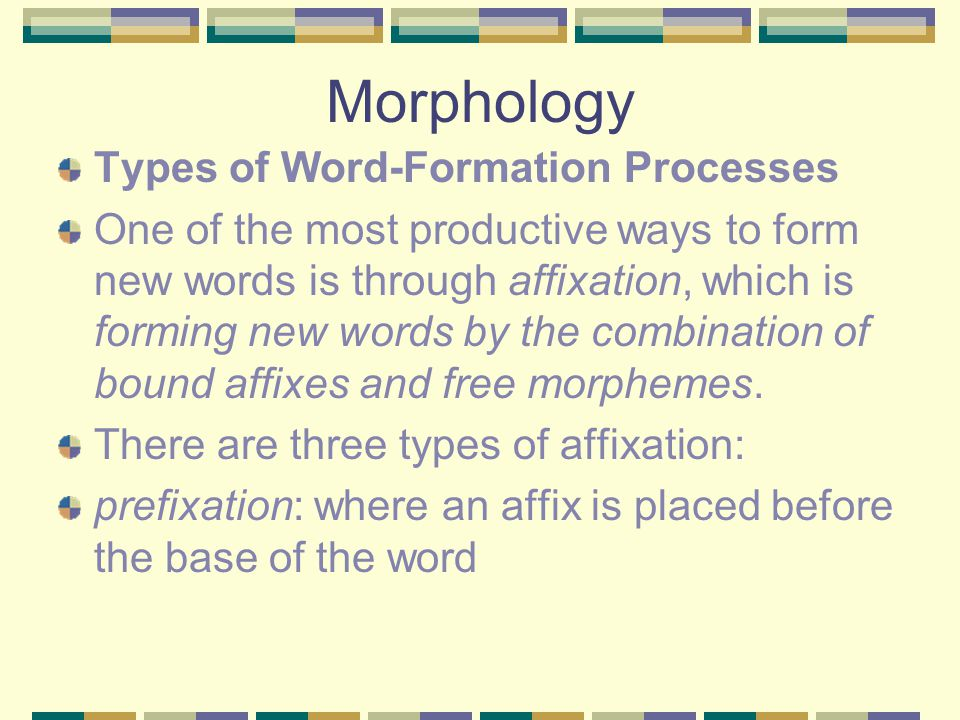 morphology affix and word Signs, words, morphemes, morphology the most obvious sign in human language is the word american linguist leonard bloomfield (1887-1949) -- defined the word as a minimal free form word - the smallest free-standing sign in language.