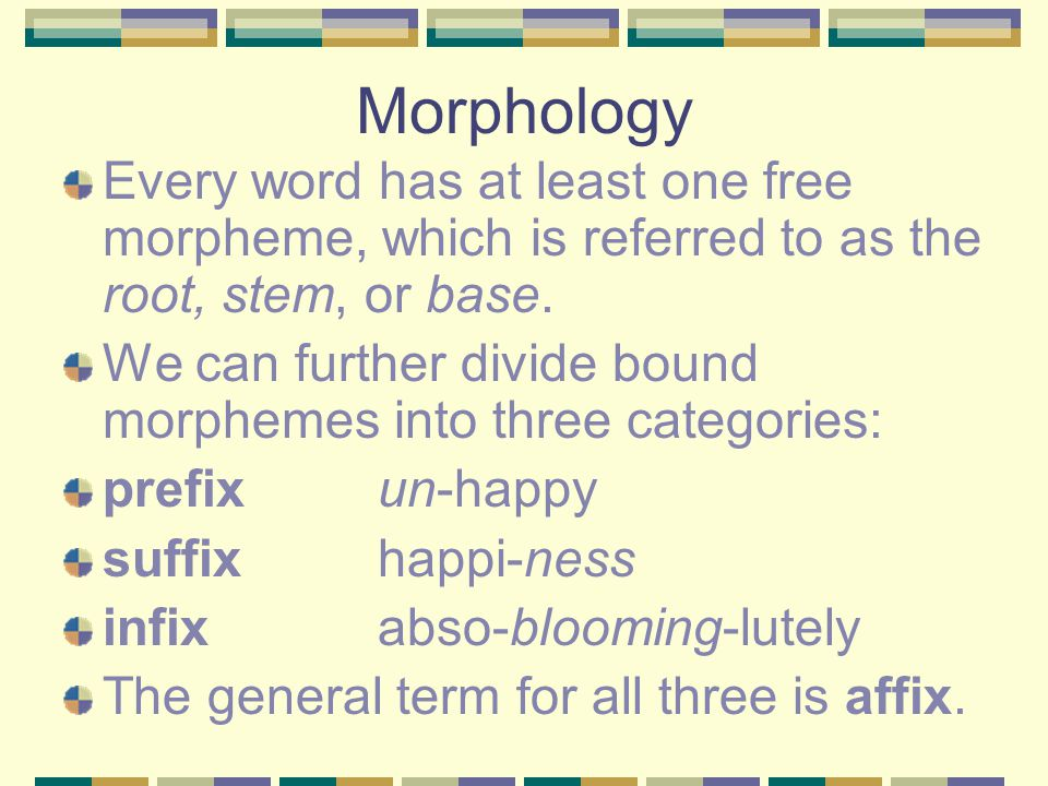 morphology word and morphemes Morphology is the study of words morphemes are the minimal units of words that have a meaning and cannot be subdivided further there are two main types: free and bound.