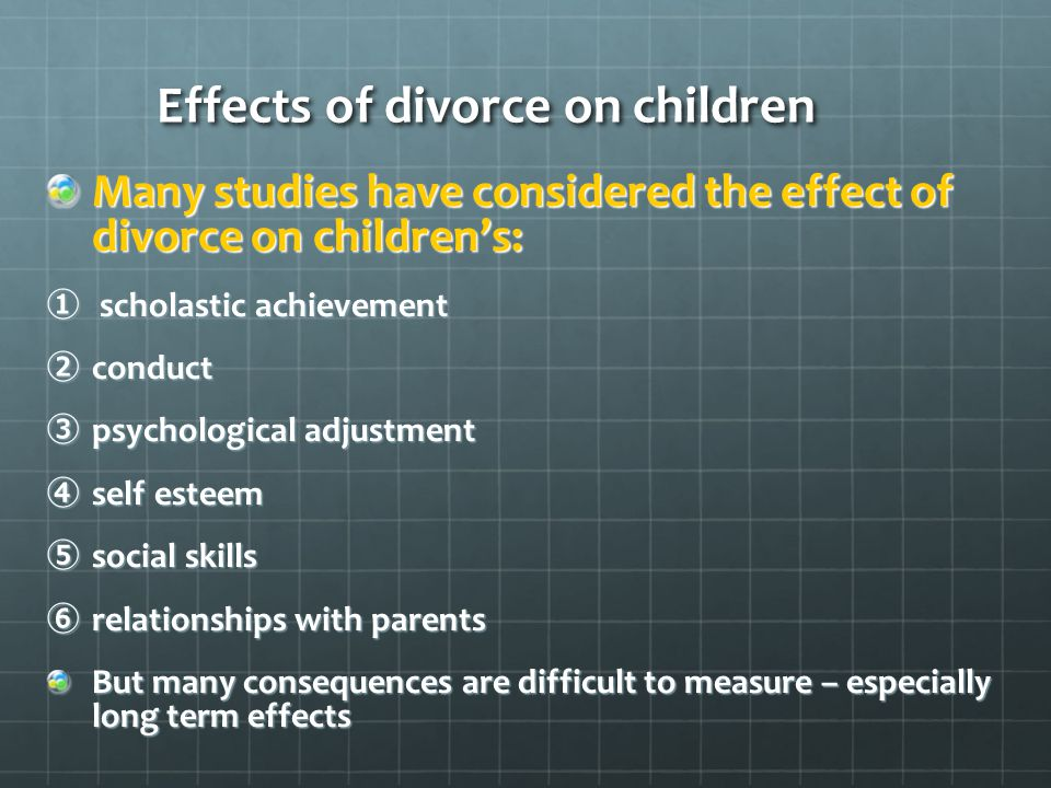 effect of divorce on children Parents and children would get on with new routines, new friends and  i began  a study of the effects of divorce on middle-class people who.