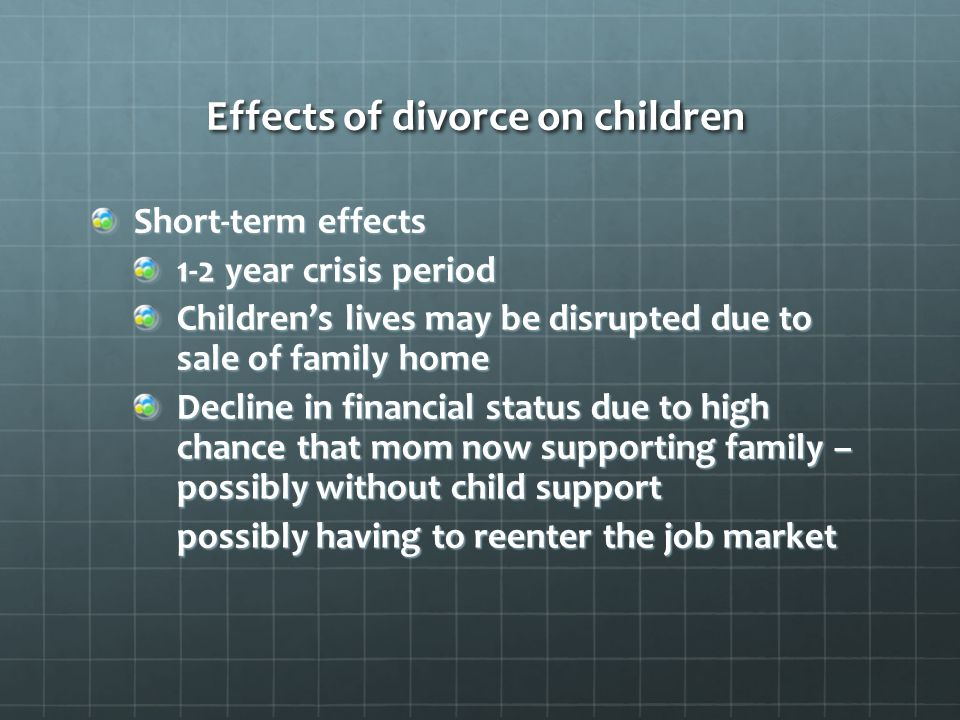 the negativ effects on family divorce The negative effects of divorce on the behavior of children david hawkins portland state university karen lloyd  divorce remains a negative and traumatic experience not  family life affected by divorce the study presented here.