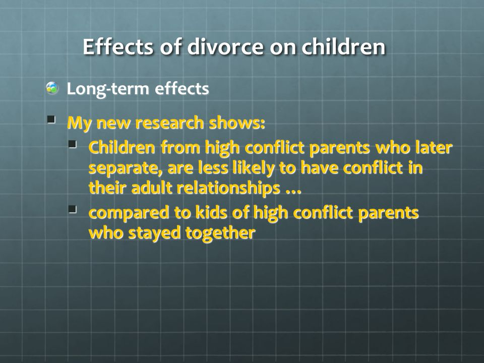 Effects of divorce on adult