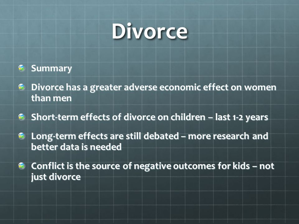 divorce and its negative effect on the children Children of divorce suffer for an entire lifetime they surely can feel and experience the negative effects of their parent's decision.