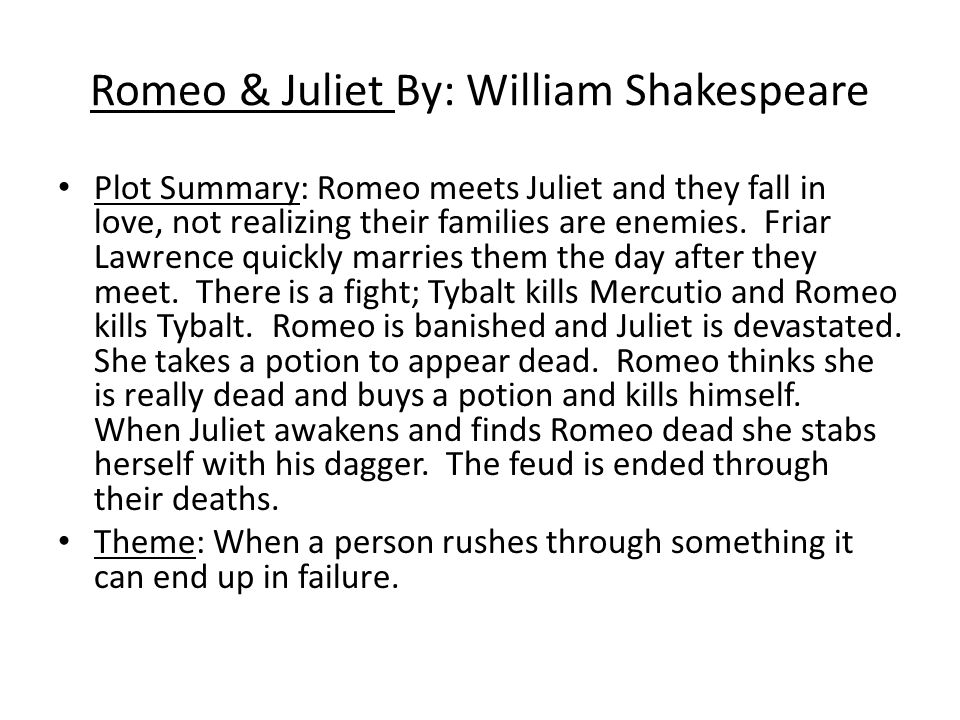 The failure of the friar in romeo and juliet by william shakespeare