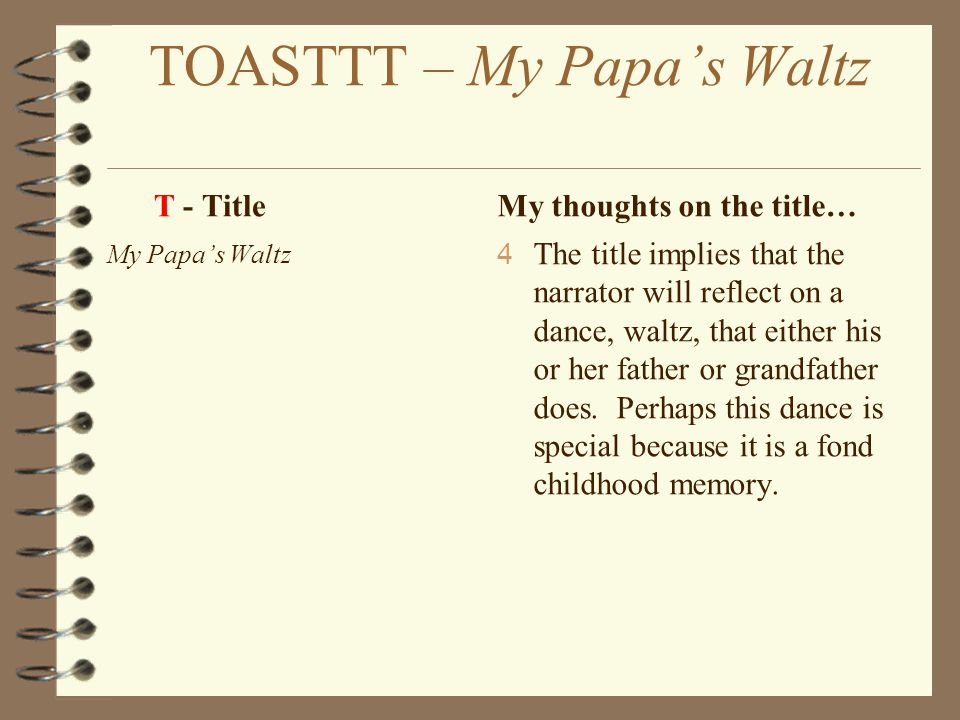essay on the poem my papas waltz My papa's waltz essay examples 7 total results father-son relationship in breakings an analysis of the tone in theodore roethke's poem my papa's waltz 1,254.