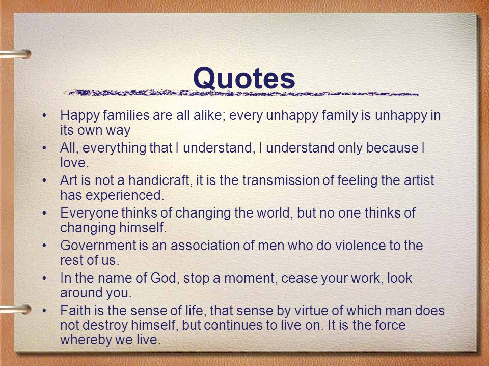 happy families are all alike every unhappy family is unhappy in its own way All happy families are alike is the twenty-second episode of the first and was happy for the both of every unhappy family is unhappy in its own way.
