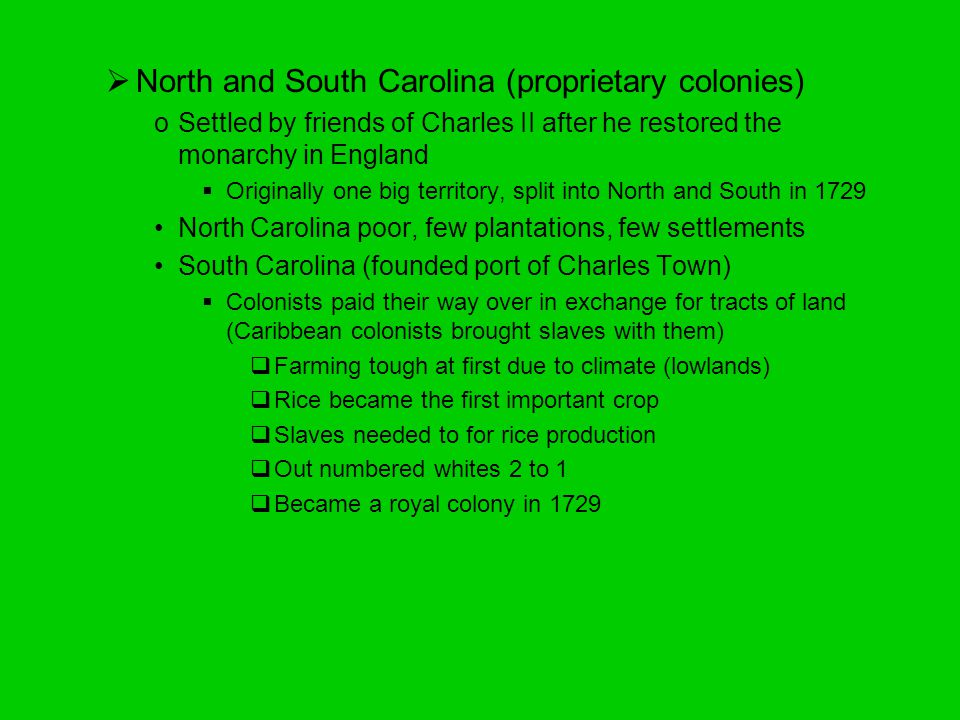 North and South Carolina (proprietary colonies)