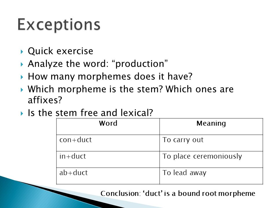Exceptions Quick exercise Analyze the word: production