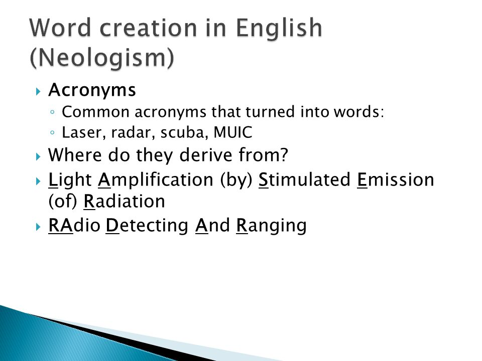 Word creation in English (Neologism)