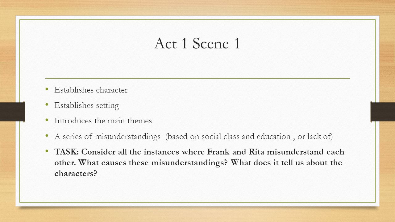 Changes in Rita and Frank Between Act 1 Scene 6 and Act 2 Scene 3 Statistics