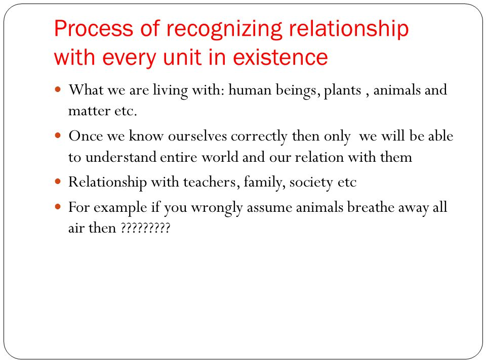 Process of recognizing relationship with every unit in existence
