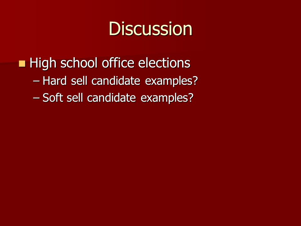 Discussion High school office elections Hard sell candidate examples