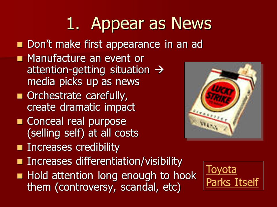 Appear as News Don't make first appearance in an ad