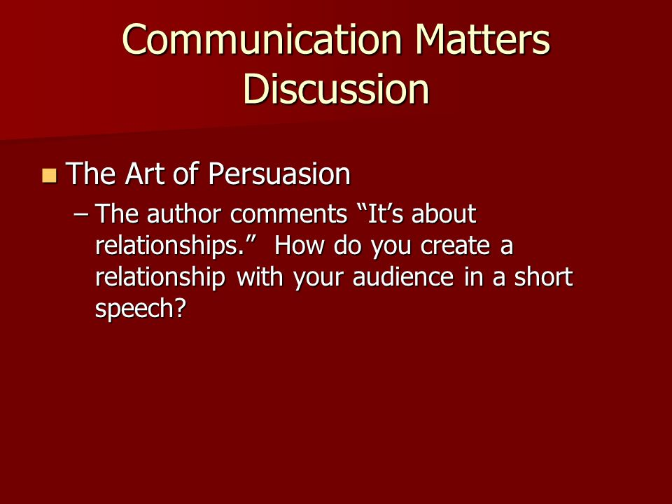 Communication Matters Discussion
