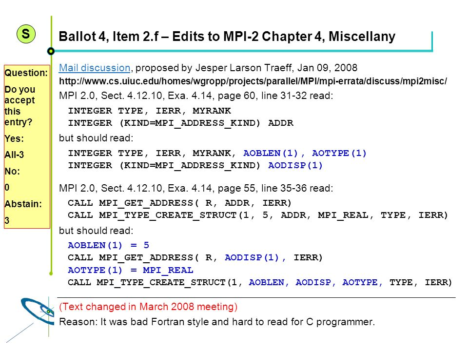 Ballot 4, Item 2.f – Edits to MPI-2 Chapter 4, Miscellany