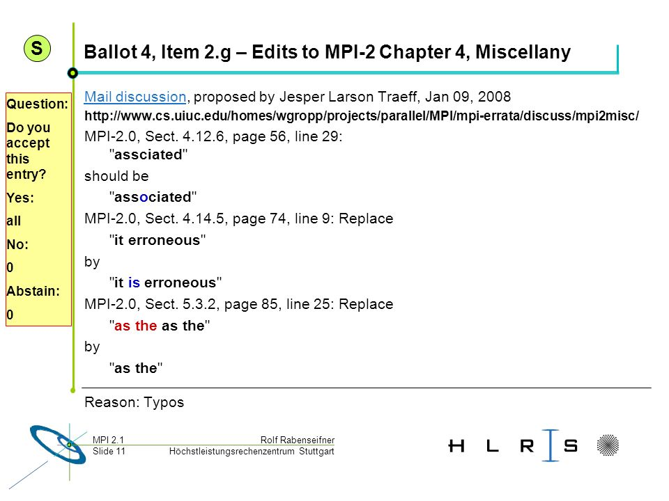Ballot 4, Item 2.g – Edits to MPI-2 Chapter 4, Miscellany