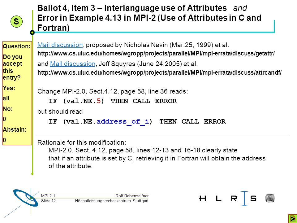 Ballot 4, Item 3 – Interlanguage use of Attributes and Error in Example 4.13 in MPI-2 (Use of Attributes in C and Fortran)