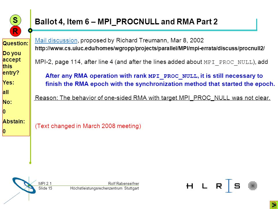 Ballot 4, Item 6 – MPI_PROCNULL and RMA Part 2