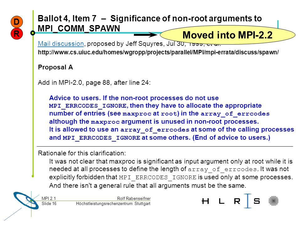 D Ballot 4, Item 7 – Significance of non-root arguments to MPI_COMM_SPAWN. Moved into MPI-2.2. R.