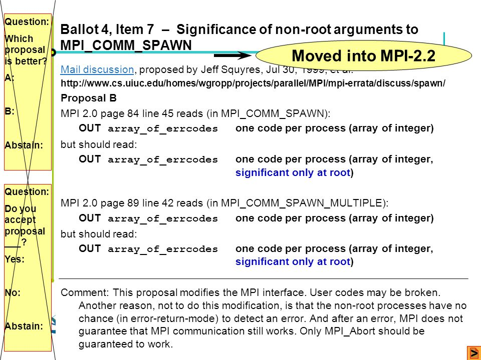 Question: Which proposal is better A: B: Abstain: Ballot 4, Item 7 – Significance of non-root arguments to MPI_COMM_SPAWN.