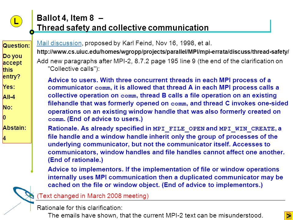Ballot 4, Item 8 – Thread safety and collective communication
