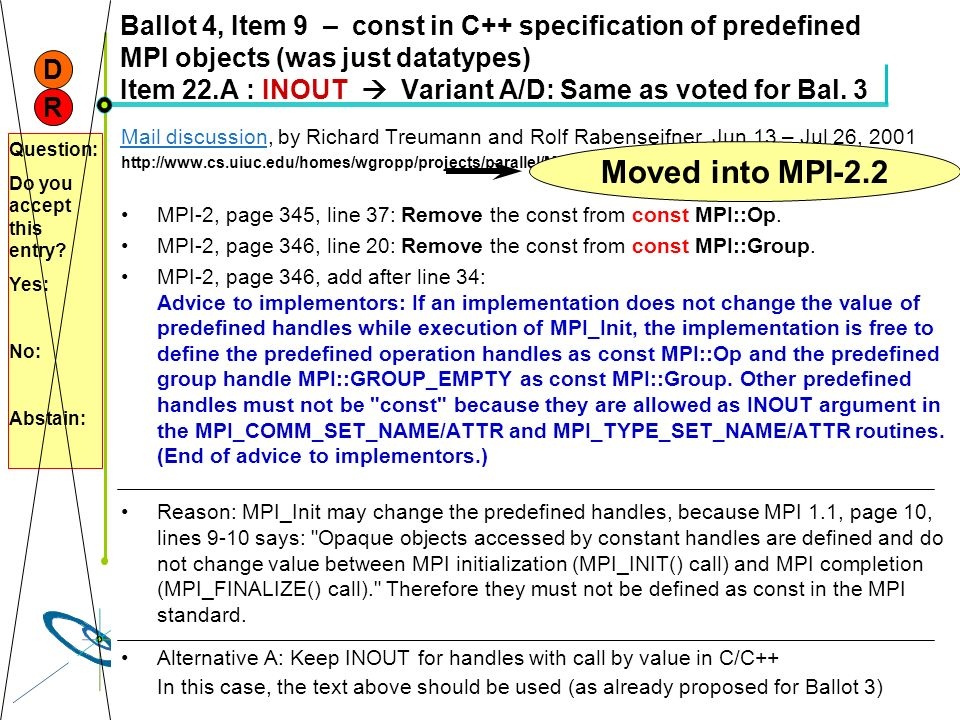 Ballot 4, Item 9 – const in C++ specification of predefined MPI objects (was just datatypes) Item 22.A : INOUT  Variant A/D: Same as voted for Bal. 3