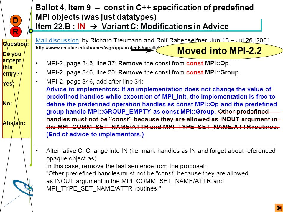 Ballot 4, Item 9 – const in C++ specification of predefined MPI objects (was just datatypes) Item 22.B : IN  Variant C: Modifications in Advice
