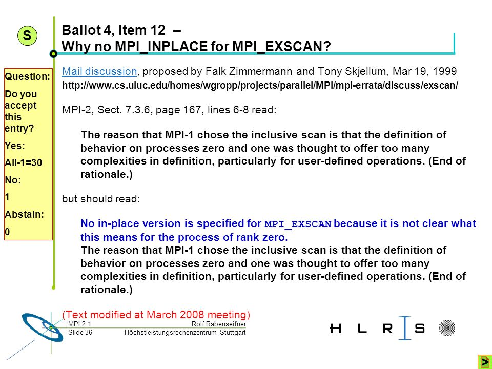 Ballot 4, Item 12 – Why no MPI_INPLACE for MPI_EXSCAN