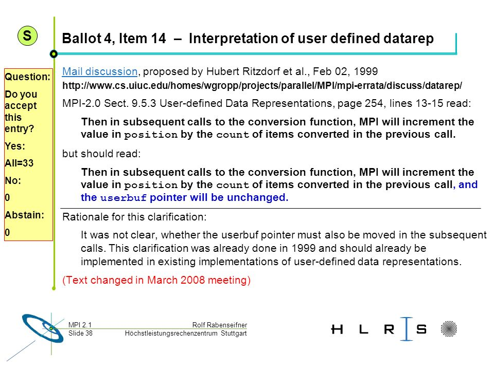 Ballot 4, Item 14 – Interpretation of user defined datarep
