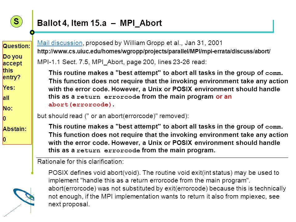 Ballot 4, Item 15.a – MPI_Abort