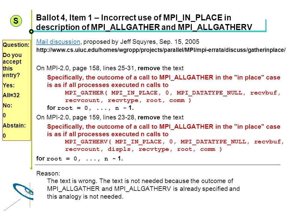 S Ballot 4, Item 1 – Incorrect use of MPI_IN_PLACE in description of MPI_ALLGATHER and MPI_ALLGATHERV.