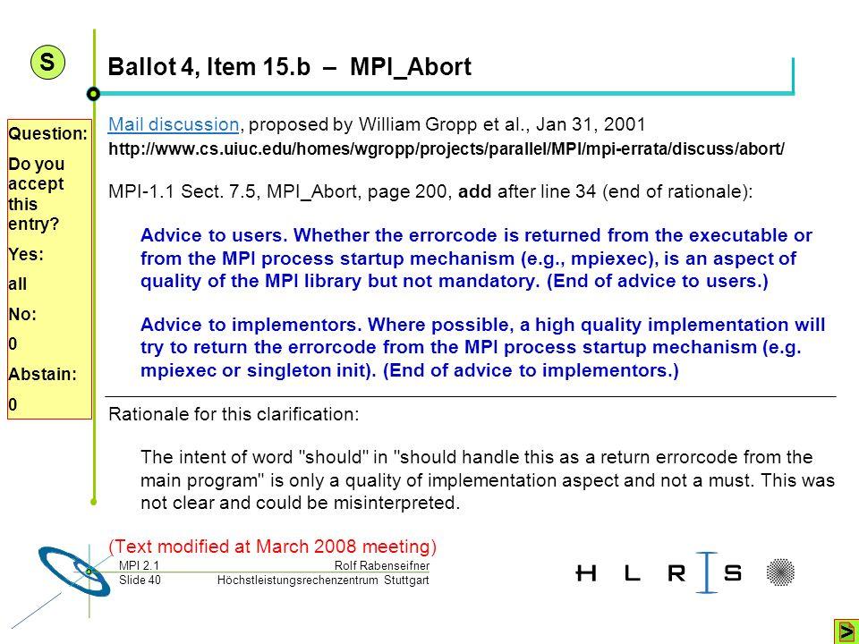 Ballot 4, Item 15.b – MPI_Abort
