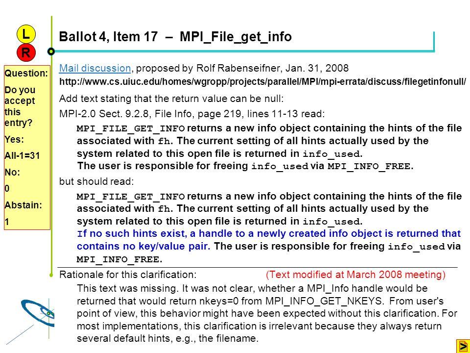 Ballot 4, Item 17 – MPI_File_get_info